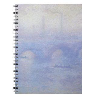 Waterloo Bridge, Effect of Mist by Claude Monet Spiral Notebooks