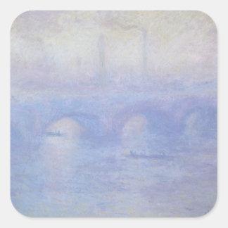 Waterloo Bridge, Effect of Mist by Claude Monet Square Sticker