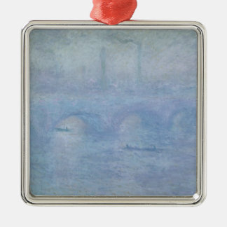 Waterloo Bridge: Effect of the Mist, 1903 Square Metal Christmas Ornament