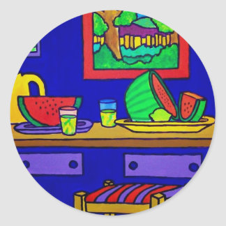 Watermellon Kitchen by Piliero Classic Round Sticker