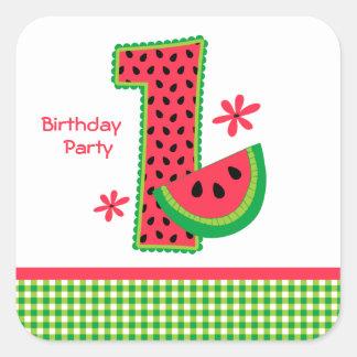 Watermelon 1st Birthday Gingham Square Sticker