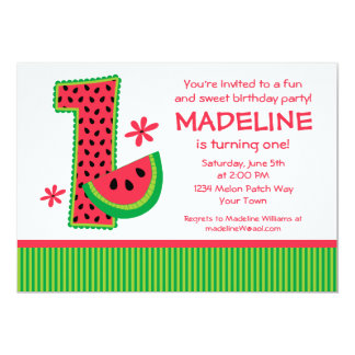 Watermelon 1st Birthday Stripe Invitation