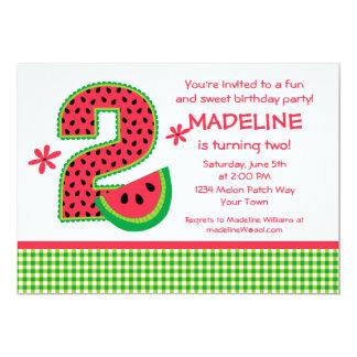 Watermelon 2nd Birthday Gingham 5x7 Paper Invitation Card