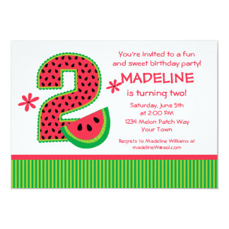 Watermelon 2nd Birthday Stripe 5x7 Paper Invitation Card
