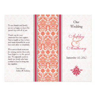 Watermelon and Coral Damask Wedding Program