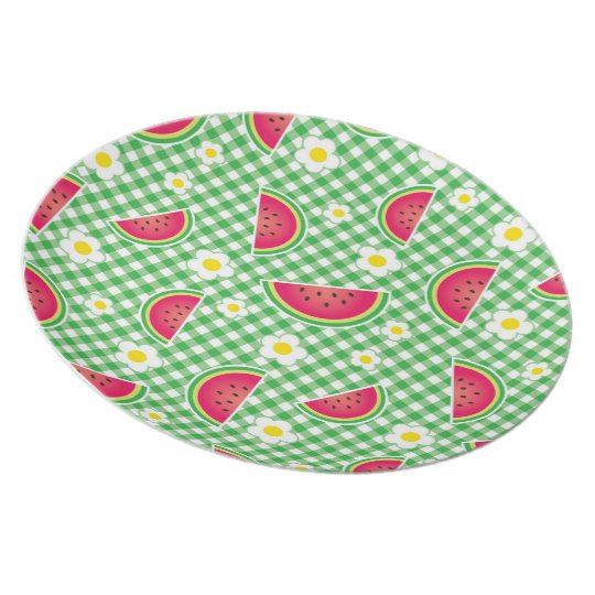 Watermelon and Daisies-Fruit Picnic #2 Melamine Plate