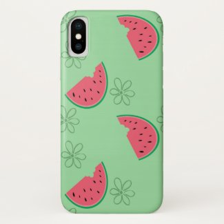 Watermelon and Flowers Green iPhone X Case