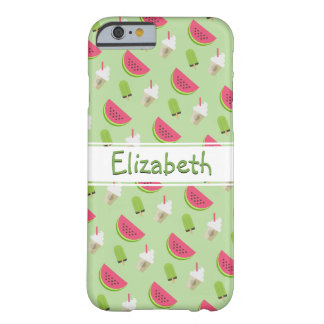 Watermelon and Ice Cream Fun Pattern with Name Barely There iPhone 6 Case