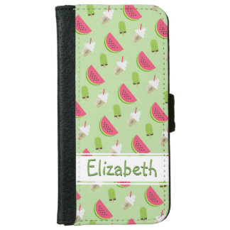 Watermelon and Ice Cream Pattern with Name iPhone 6/6s Wallet Case