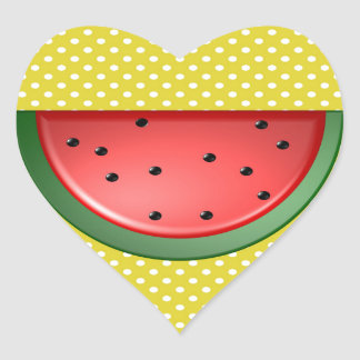 Watermelon and Polks Dots Heart Sticker