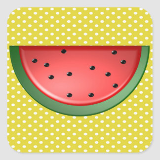 Watermelon and Polks Dots Square Sticker