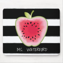 Watermelon Apple Stripes Personalized Teacher Mouse Pad