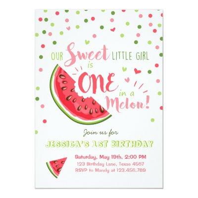 One In A Melon Birthday Invitation Melon Party Zazzlecom