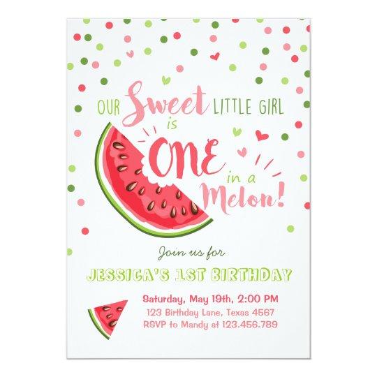 Watermelon Birthday Invitation Melon Summer Party Zazzle