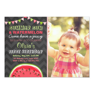 watermelon birthday invitations & announcements | zazzle, Birthday invitations
