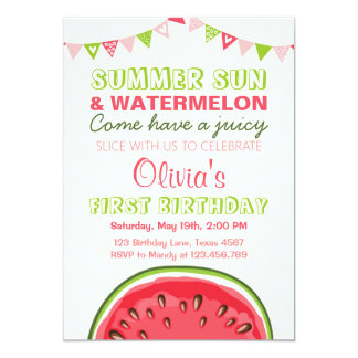 Watermelon Birthday Invitation Sun Summer Party
