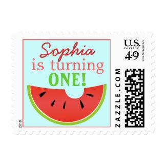 Watermelon Bite Birthday Invitation Postage Stamp