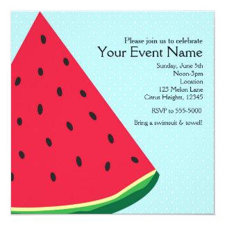 Watermelon Blue Fun Summertime Birthday Party Card