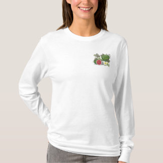 Watermelon Botanical Fruit and Floral Embroidered Long Sleeve T-Shirt