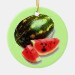 Watermelon Cartoon Double-Sided Ceramic Round Christmas Ornament