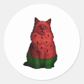 Watermelon cat classic round sticker