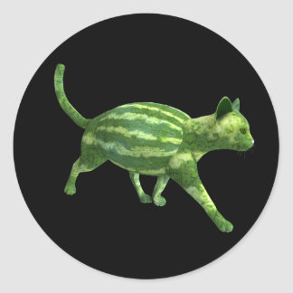 Watermelon Cat Classic Round Sticker