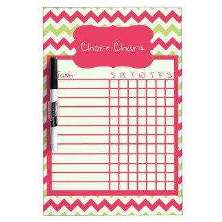 Watermelon Chevron Chore Chart Dry-Erase Whiteboards