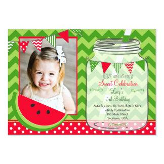 "Watermelon Chevron Pendants Party Birthday 5"" X 7"" Invitation Card"
