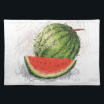 "watermelon cloth placemat<br><div class=""desc"">artistic hand-drawn illustration,  sketch of fresh watermelon.</div>"