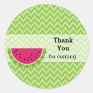 Watermelon color classic round sticker at Zazzle