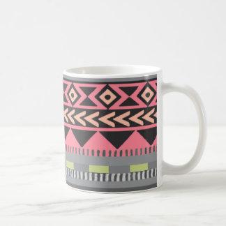 watermelon colored aztec pattern coffee mug