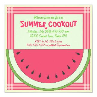 """Watermelon Cookout Picnic Invitation 5.25"""" Square Invitation Card"""