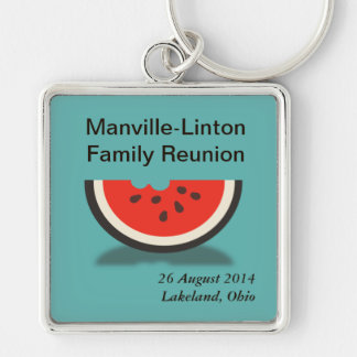 Watermelon Custom Family Reunion Souvenir Keyring Silver-Colored Square Keychain