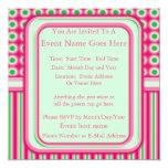 """Watermelon Dots & Stripes 5.25"""" Square Invitation Card"""