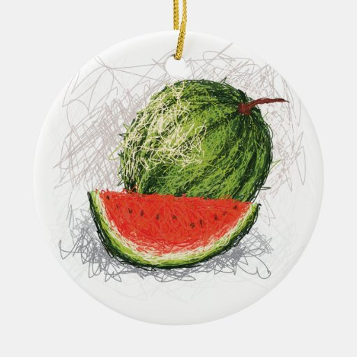 watermelon Double-Sided ceramic round christmas ornament