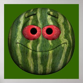 Watermelon Emoticon Poster