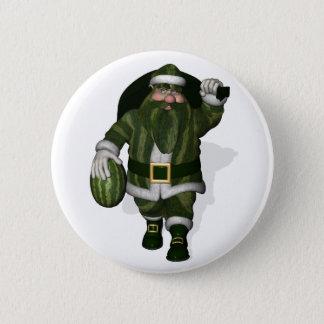 Watermelon Farmer Santa Claus Pinback Button