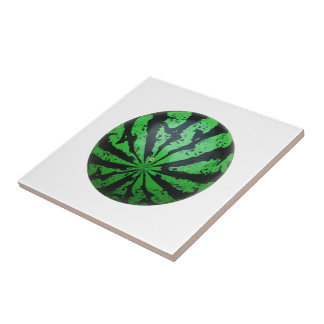 Watermelon Football / Soccer Ball Ceramic Tile