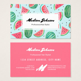 Watermelon Fruit Monogram Custom | Business Cards