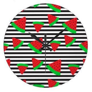 Watermelon Fruit Stripes Bold Wall Clock
