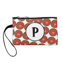 Watermelon Geometric Pattern Monogram Wristlet
