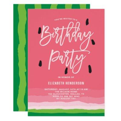 watercolor watermelon birthday party invitation zazzle com
