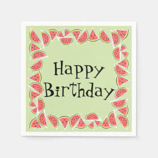 Watermelon Green Pieces Square Happy Birthday Paper Napkin