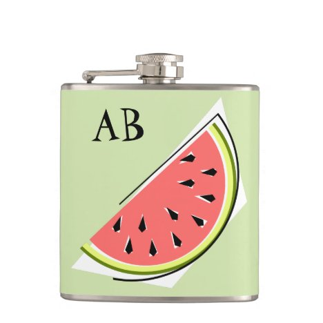 Watermelon Green Slice Monogram Flask
