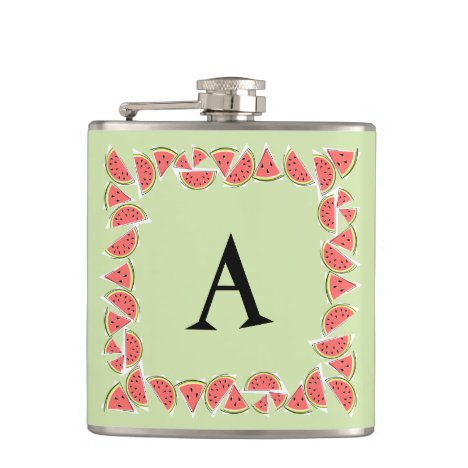 Watermelon Green Square Monogram Flask
