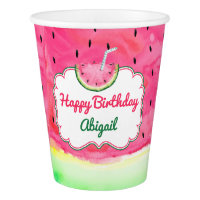 Watermelon Happy Birthday Cup Custom Name
