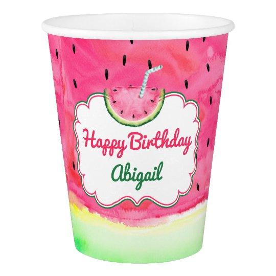 watermelon happy birthday cup custom name zazzle com