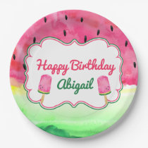 Watermelon Happy Birthday Plate Custom Name