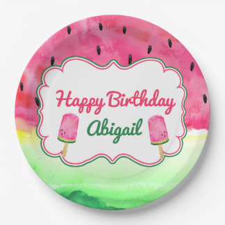 Watermelon Happy Birthday Plate Custom Name