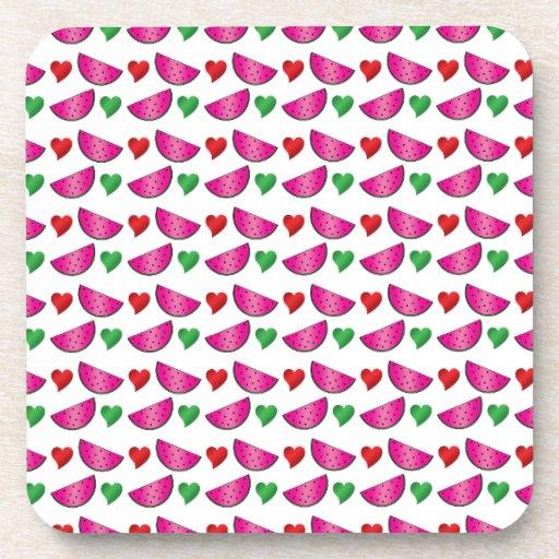 Watermelon heart pattern drink coasters
